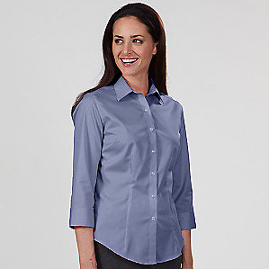 Ladies' Twill 3/4 Sleeve Dress Shirt